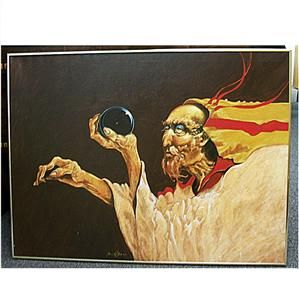 Original 1979 Signed Lawrence w Lee Oil on Canvas Early Shaman
