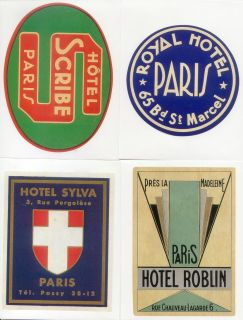 20 Retro Luggage Labels Stickers Vintage Paris Hotels