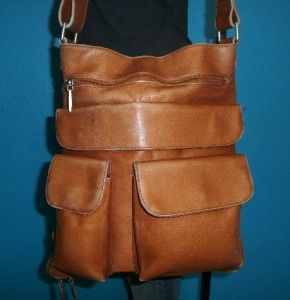 Vintage Lavive Large Brown Expandable Leather Messenger Cross Body