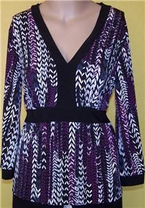 Lawrence Sz M Medium Top Shirt Blouse Black Purple White Stretch V