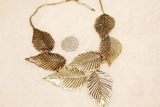 New Celebrity Vintage Metal Leaf Bib Statement Party Fringe Necklace