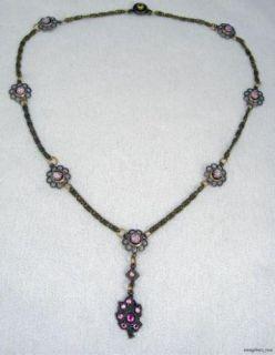 Crystal Rhinestone Leaf Art Glass Necklace Pendant USA