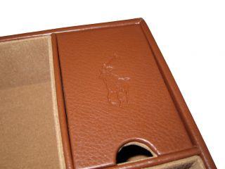 Ralph Lauren Brown Polo Valet Cufflink Wallet Phone Tray Big Pony Box