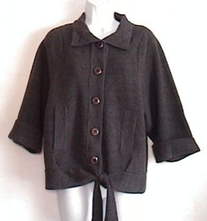 Plenty Tracy Reese Dark Gray Wool Cardigan Sz M 3 4 Sleeve Tie Waist