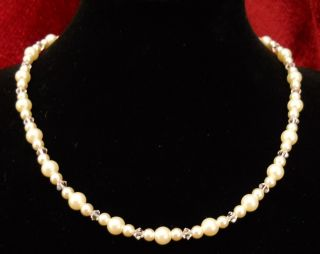 Pearl Swarovski Crystal Necklace Bridal Wedding Prom