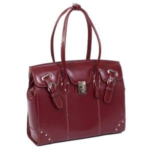 McKlein Leclaire Ladies 15 4 Leather Laptop Tote Bag w Series Red