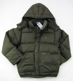 Polo Ralph Lauren Winter Down Jacket Mens M Medium Olive Green Hood
