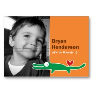 Kids Custom Photo Playdate Card Business Card Template