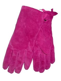Womens Fushcia Suede Leather Gloves Pink Purple