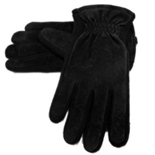 Mens Black Suede Leather Dockers Gloves Fleece Lined