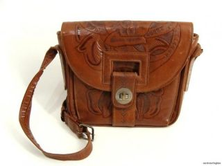 Flores Bags Tooled Leather Shoulder Handbag Purse Mexico Boho