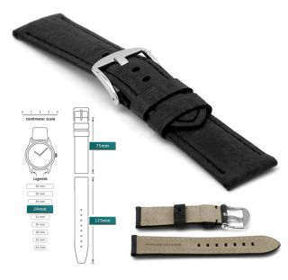 24mm Vintage Style Mens Black Leather Watch Strap Band