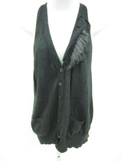 Laurie B Gray Ruffle Knit Button Front Sweater Vest L