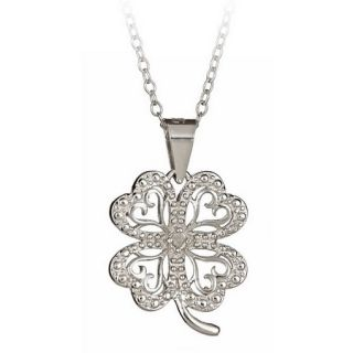 Silver Diamond Accent Four Leaf Clover Pendant + 18 Chain Necklace