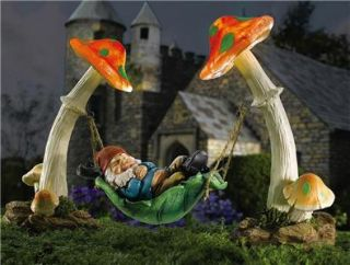 Adorable Napping Garden Lazy Gnome Solar Lighted New