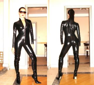Sexy Catsuit Black Shiny PVC Stretchy Leather Body Suit Costume Zipper