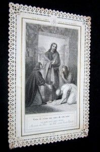 HOLY CARD LACE ENGRAVING JESUS VISITING LAZARE MARTHA & MARY + PRAYER