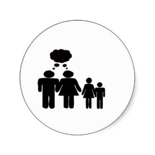 Family thought bubble copy space round sticker