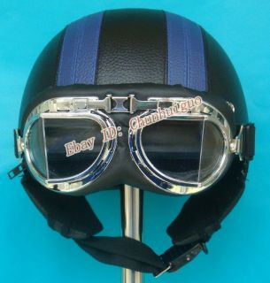 it faster, Please  New Blue Black Leather Motorcycle Helmet