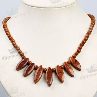 Brown Sand Goldstone Leaf Bead Pendant Necklace 18 Gem Hot Sale