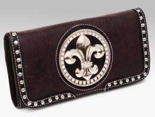 New Silverake Rhinestone Studded Fleur de lis Tri Fold Wallet, Brown