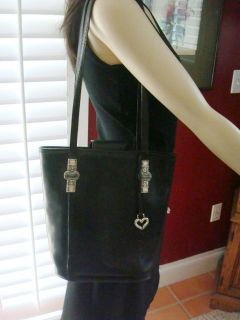 Brighton Black Leather Large Bucket Bag with Silver Embossed Stones