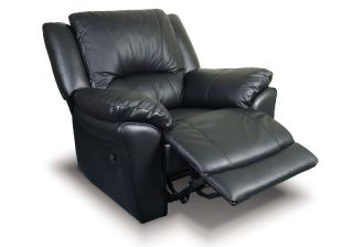 New Black Multi Position Leather Match Recliner Chair