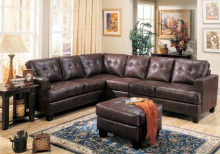Modular Bonded Leather Sectional Sofa Couch Ottoman Set