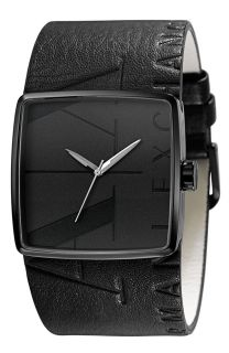 Armani Exchange Black Leather Band Wide Cuff Mens Watch AX6002