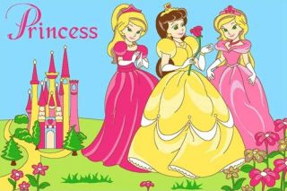 Princess Design 3x5 Area Rug Carpet Play Mat Great Gift Idea