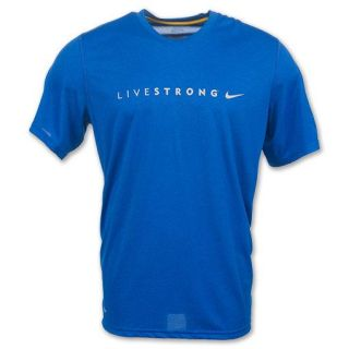 Nike Livestrong Legend Lance Armstrong New Mens Cancer Dri Fit Blue