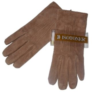 Womens Tan Suede Leather Isotoner Gloves Camel