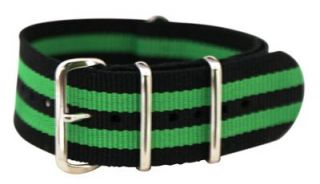 24mm James Bond Lime Green Nylon NATO Watch Band Strap Stripped G 10