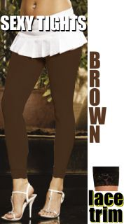 Brown Lace Trim Footless Long Tights Leggings Cropped