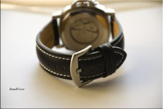 22mm XL Long Black Genuine Leather Watch Band Strap