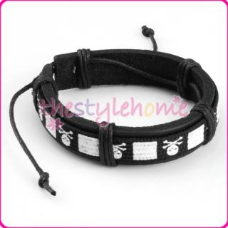Mens Womens Stylish Leather Wrap Bracelet Wristband