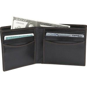 Leatherbay Classic Bi Fold Mens Leather Wallet Black