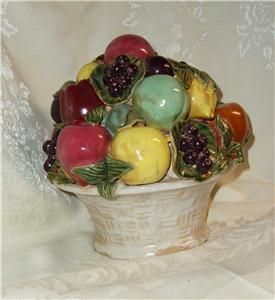 PRICE REDUCED*****VINTAGE POTTERY FRUIT BASKET CENTER PIECE SIGNED