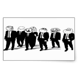 trolling meme faces in suits rectangular sticker
