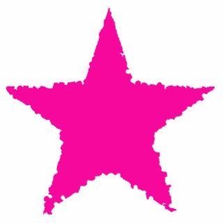 Cute girly punk hot pink ragged star cut outs