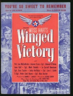 Winged Victory 1945 Youre So Sweet to Remember WWII Army Air Force