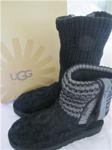 UGG Australia Leland Cotton Knit Boots Black Charcoal Size 8 New in
