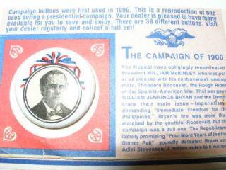 Vintage 1972 William McKinley Campaign Pin Pinback Political