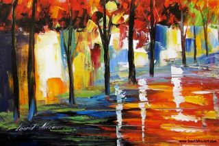 Leonid Afremov Winter Passion Fall Colors Original Oil Painting on