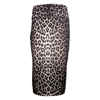 Womens Waistband Poly Leopard Animal Print Long Pencil Dress Bodycon