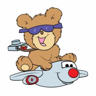 vacation teddy bear in plane photo cut out