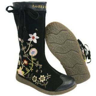 New Lelli Kelly Floreal Tall Suede Black Boot 34 3 3 5