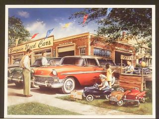 THE CAR LOT by Dan Hatala PRINT ~ classic cars childrens pedal car
