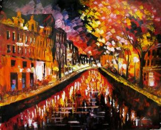 Leonid Afremov Washed River Canal Water Original Oil Painting on