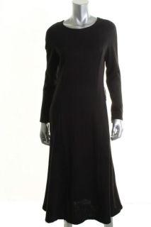 Leonard Black Long Sleeve Seamed Crew Neck Pullover Casual Dress L